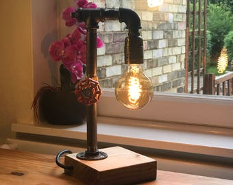 Industrial Table Lamp - Edison Lamp - Pipe Lamp - Steampunk Lamp - Edison Bulb - Industrial Lighting - Table Lamp - Lighting - Home Decor