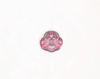 Flat cabochon resin 25 mm Skull pink
