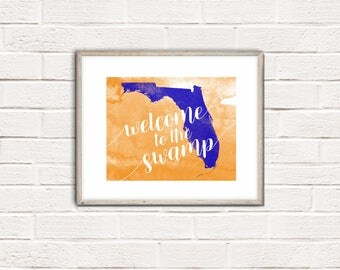 "Florida ""Welcome to the Swamp"" Orange, Blue, & White watercolor Art Print, Wall Decor"