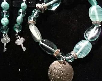 Inspirational Charm Bracelet & Earrings