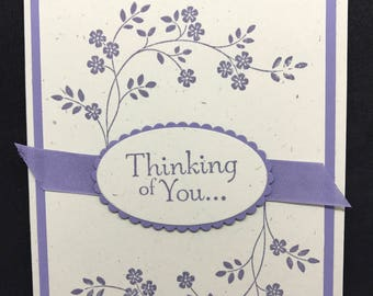 Sympathy card, Thinking of you card, purple flowers