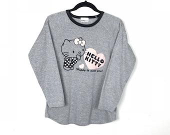 Rare!!! Hello Kitty Sweatshirt Pullover Spellout Big Picture Multicolors Jumper