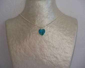 Valentine's day-crystal blue heart and silver chain