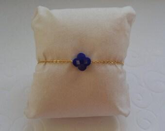 Royal Blue clover bracelet on gold chain
