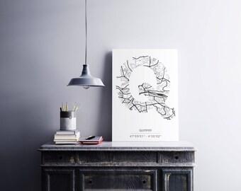 Poster Quimper - Monogram (A4)