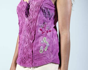 Embellished embroidered bohemian Free People Tank top for festivals
