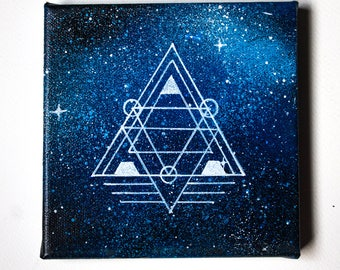 Handpainted Blue Space Canvas - One of a kind - Free Worldwide Shipping