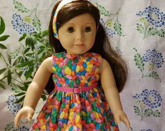 """Easter Jellybean Dress with Matching Headband  for American Girl or 18"""" Doll"""