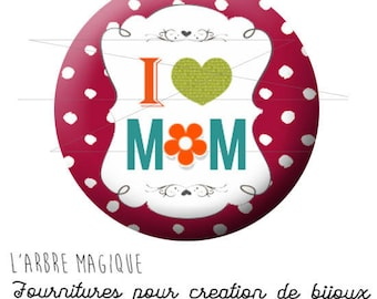 2 cabochons glue mother's day MOM best small dots red ref 1766 - 14 mm glass-