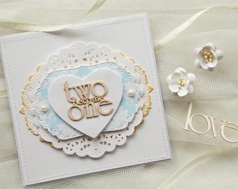 Handmade Wedding Invitations, blue wedding invitation, flower wedding invitation (KWTWO2) two become one, christian wedding invitations