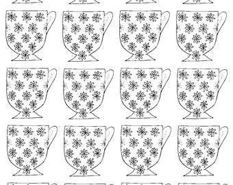Floral Teacup Colouring Page