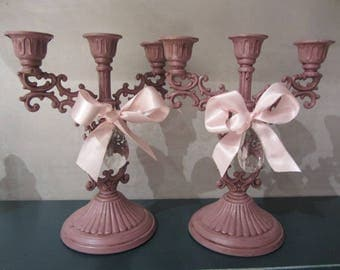 Lace candle holders customized patina to the old