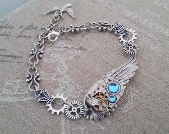 Steampunk wing bracelet