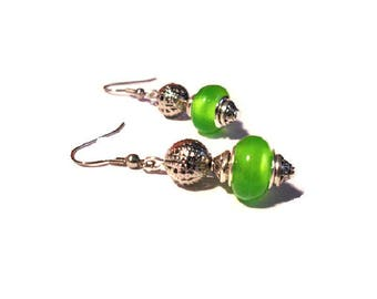 Retro earrings, bright green beads