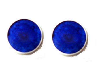 White Stud Earrings with sand colored dark blue resin cabochons