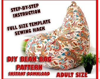 Adult BEAN Bag Pattern Sewing Full Size Template Kids DIY Beanbag Chair Lazy Sofa Floor