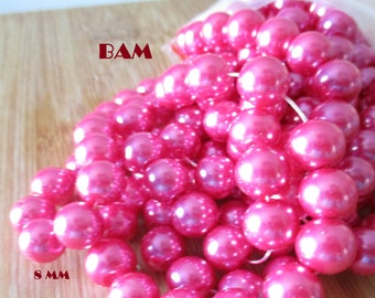 Set of 25 beads pink Glass 8 mm