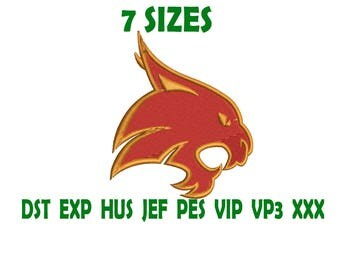 Texas State Bobcats logo embroidery design - Instant Download machine embroidery pattern