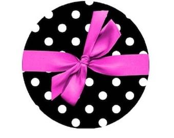 Pink cabochon bow on polka dots, 25mm