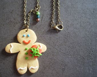 Necklace little cookie with a small gift for Christmas