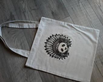 Tote bag - grocery bag - fabric bag - PANDA pattern shoulder bag.