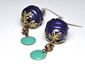 Colorful earrings, wooden beads and sequins