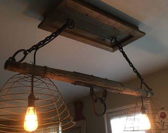 Vintage oxen harness light fixture