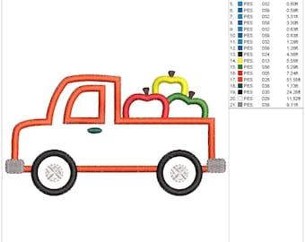Apple Truck Applique Embroidery Design
