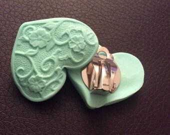 Clip earrings heart lace!