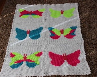 CraftyDesignsByJane.etsy.com neon butterfly blanket afghan crochet intarsia blue yellow pink fuscia, white blanket girls blanket