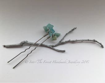 Amazonite semi precious crystal hair pin bun pin