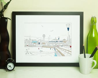 Dorset Artwork Print - Bournemouth Pier Line Art View 2 - by Jo Parry