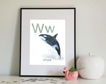W is for Whale, alphabet series - Print of Original Watercolour