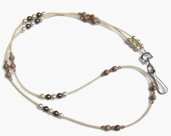 Picture Jasper Gemstone Pearl Crystal Beaded Lanyard