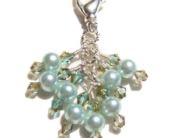 Light Blue Pearl Crystal Beaded Zipper Pull Pendant