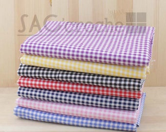 Lot of 7 x coupons 50X50CM tile GINGHAM patchwork bag sewing cotton fabric