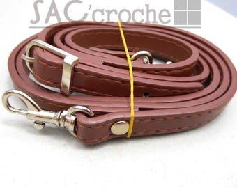 1 x long shoulder strap handle adjustable width 12mm Brown leather faux metal silver