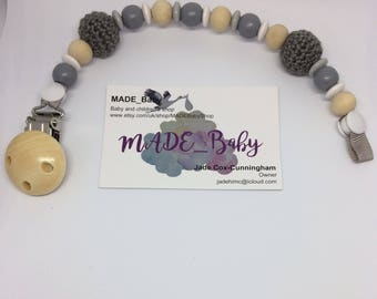 Unique Baby Gift, Baby Dummy Clip, Soother Clip, Unique Gift, Pacifier Chain, Dummy Saver, Pacifier Holder, Baby Shower Gift, baby Boy, Grey