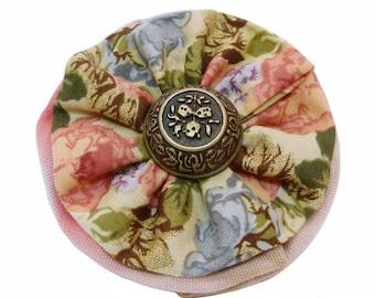 flat round scrunchie retro cotton floral flowers pink red beige grey blue