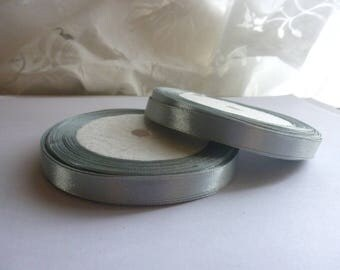 5 meters of 10mm sewing scrapbooking 16 plain silver grey satin ribbon