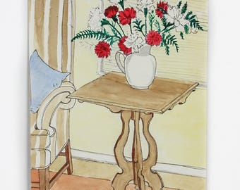 Unframed Watercolor of Red and White Carnations