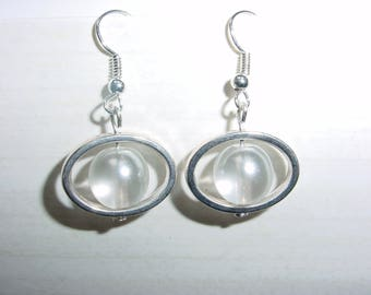 Dangle earrings white glass beads