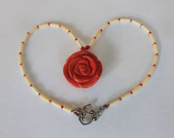 Rockabilly Red Rose Necklace