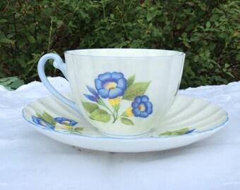 Shelley Fine Bone China Tea Set, Cup & Saucer. Morning Glory. 'Ludlow' Shape. Farmhouse, Afternoon Tea