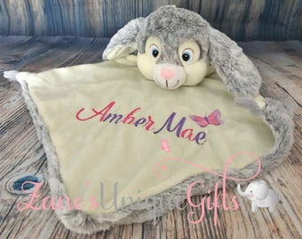 Personalised Comforter Security Blanket Bunny, Personalized Bunny, Baby Blanket,Personalized Blankie,Personalized Gift, Baby Shower Gift