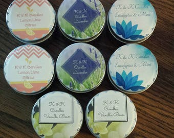Lavender and sage scented soy candles