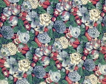 Vintage Quilters Fabric, Quilting Cotton, Blue Floral Cotton Fabric