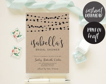 Bridal Shower Invitation INSTANT DOWNLOAD, Bridal Shower Invite, Before I do, Bachelorette Printable, Hens Night Invitation - Garland
