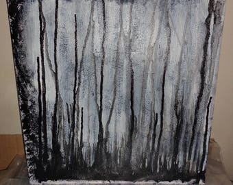 The Trees Black & White Streaks Abstract Acrylic Painting