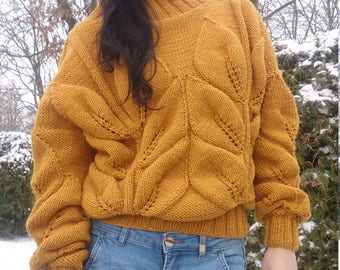 Womens Sweaters, Sweater Hand Knit, Knit Sweaters For Women, Sweater Knit, Women Yellow Sweater, Knit Yellow Pullover, Chunky Knit Sweater